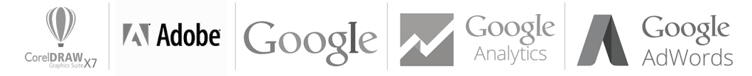 Logos Google, Google Analytics, Google Adwords, Corel, Adobe