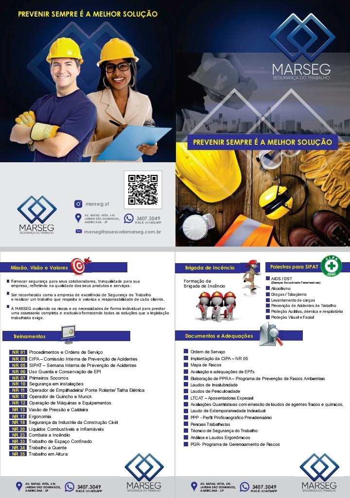 Folheto Folder Cursos e Treinamentos de Segurança do Trabalho