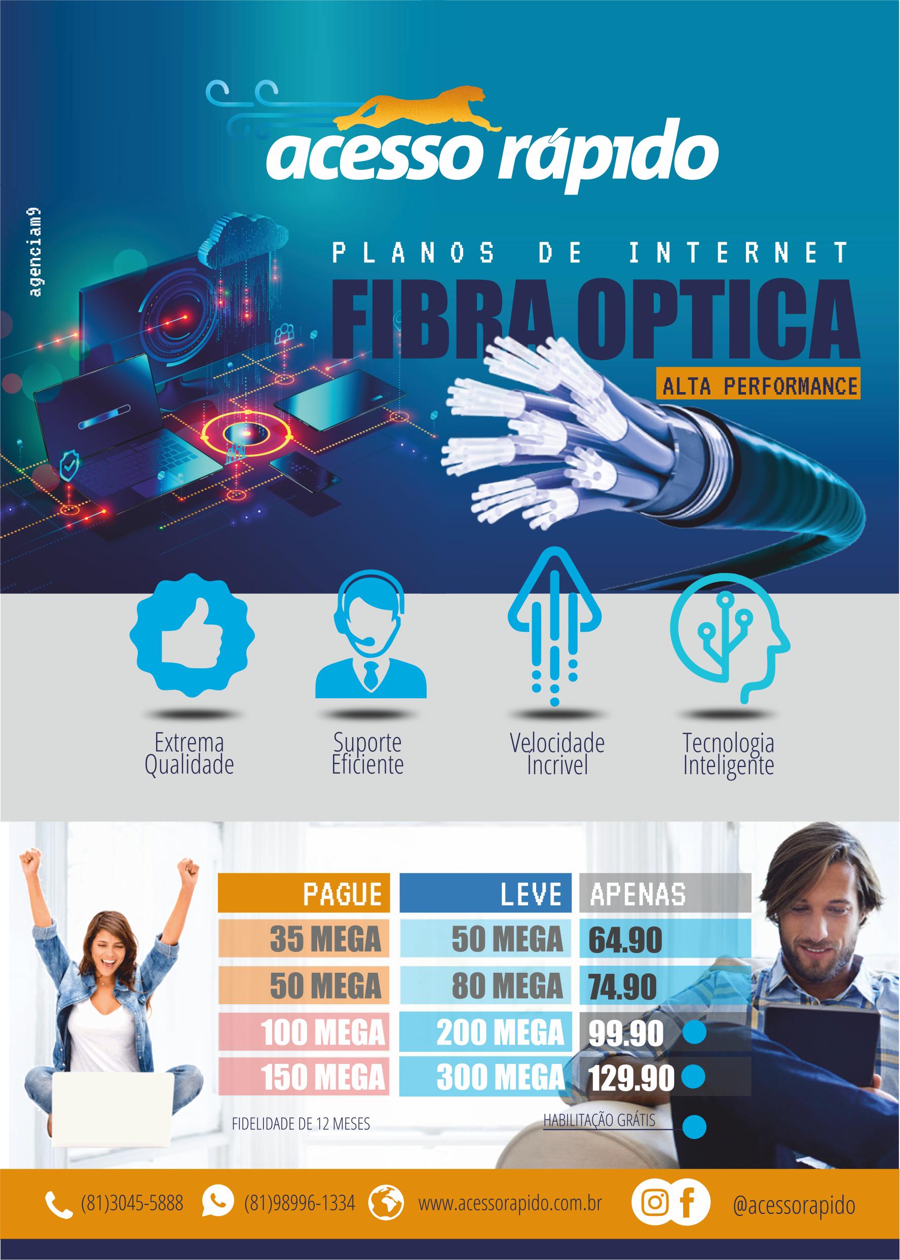 Folheto Panfleto Filipete Folder Internet Super Ultra Fibra Optica e Wifi 50 Mega 100 Mega 150 MEGA 300 MEGA