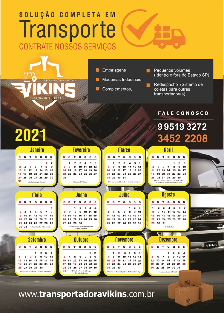 Layout Calendário 2021 para Transportadora