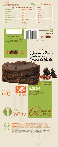 Layout para Embalagem de Brownie sabor Chocolate Preto