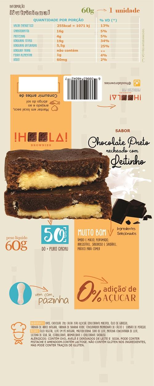 Layout para Embalagem para Brownie sabor Chocolate Preto com Leitinho