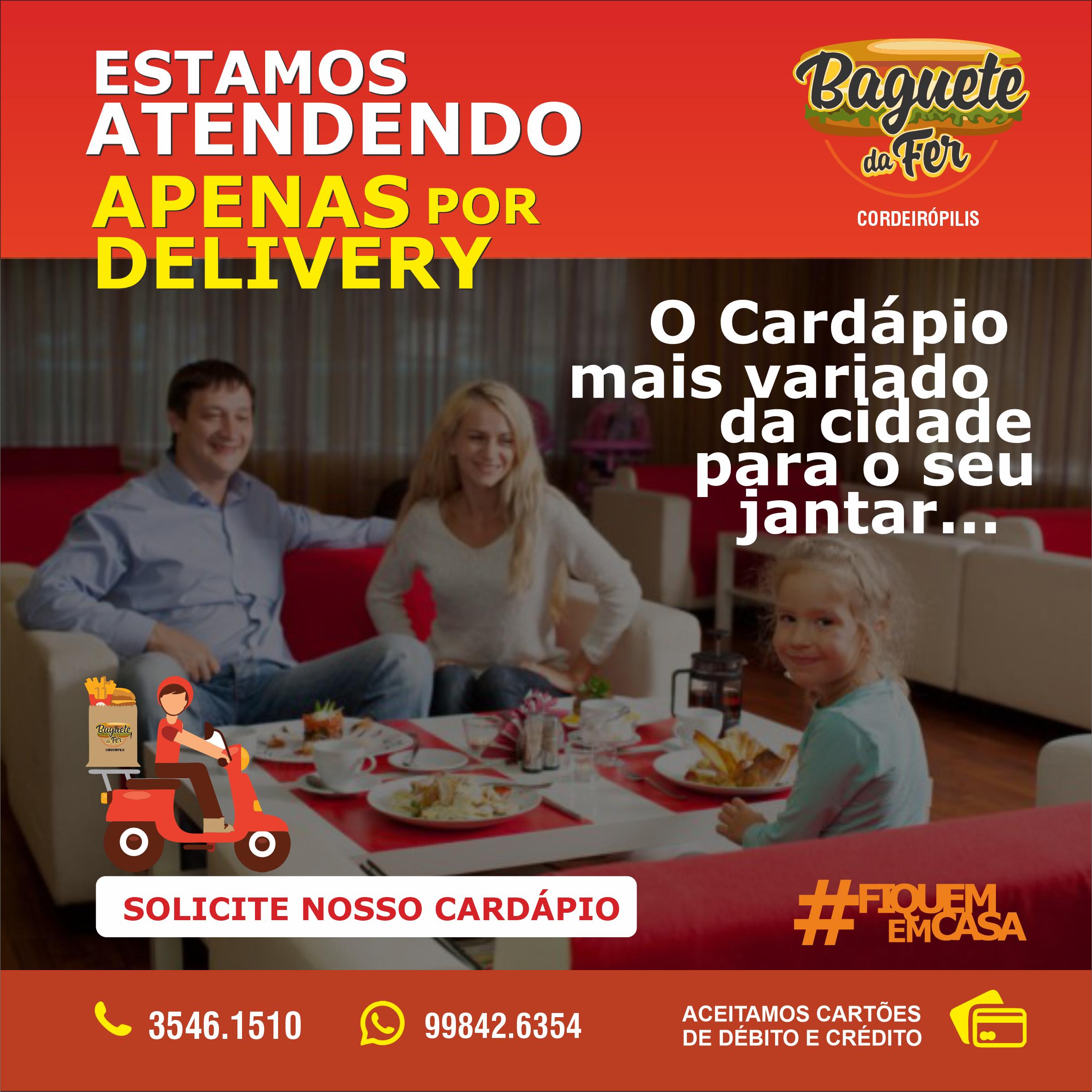 Propaganda Cardápio para Jantar de Lanchonete e Bagueteria