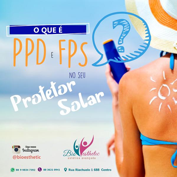 Propaganda estética facial sobre PPD e FPS no protetor solar