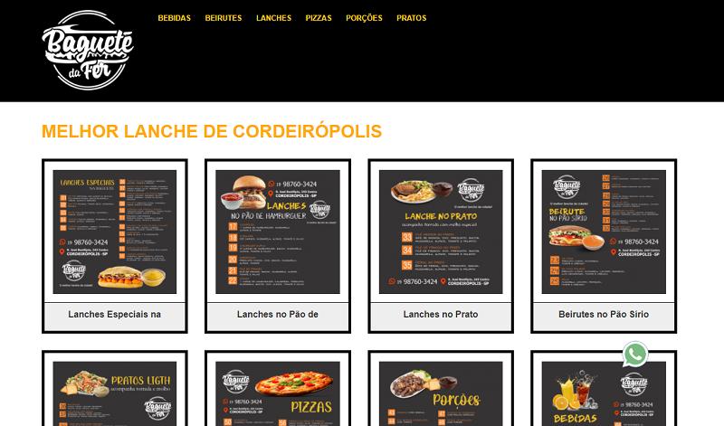Site para Lanchonete e Bagueteria